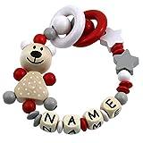 Premium Greifling mit Namen HOLZ Rassel Modell Teddybär Sterne grau rot mit Glöckchen
