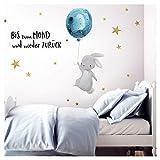 Little Deco Wandtattoo Bis zum Mond & Hase mit Luftballon I 83 x 47 cm (BxH) I Kinderzimmer...