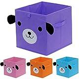 homyfort Aufbewahrungsbox für Kinderzimmer Praktische Spielzeugkiste Faltbar Cartoon Aufbewahrungswürfel Regal Closet Korb mit Griffen, 30 x 30 x 30 cm, Hundedruck, 4 Farben, XDGOB04P