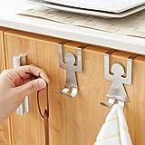 Olively 2 Stück Edelstahl Lovers Form Haken Küche Kleiderbügel Kleiderständer Werkzeug (Silber)