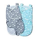 Minetom 2er Baby Pucksack Wickeldecke Schlafsack Neugeborene Schlafsack Decke für Säuglinge mit Schulterriemen(0-6 Monate)