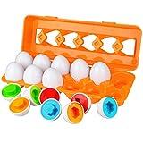 Aiduy Buntes Lernspielzeug zum Sortieren- und Zusammenbringen- Eier, Farben- und Formen Sortierspiel, Fördert Motorik und Wahrnehmung des Kindes, ab 1 Jahren (12pcs)