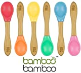 Bamboo Baby Feeding Spoons with Soft Curved Silicone Bowl Tips for Toddlers and Infant