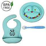 Babylovit BPA-freier Kinder Geschirrset mit Antirutschteller, Babylätzchen mit Auffangschale und Löffel für Babys & Kleinkinder