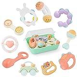 GizmoVine Baby Rassel Beißring Spielzeug Baby Rassel Set mit Aufbewahrungsbox ohne BPA Spielzeug für 0,3,6,9,12 Monate und Neugeborene