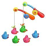 Fajiabao Wasserspiel Angeln Badespaß Spielzeug mit 6 Gefleckte Niedliche Fische Geschenk für Kinder Baby