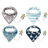 4er Baby Dreieckstuch Lätzchen Spucktuch Halstücher mit Schnullerkette und Verstellbaren Druckknöpfen Multifunctional, Super Absorbent & Soft Baumwoll, von Future Founder.