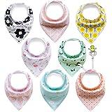 FUTURE FOUNDER 8er Baby Dreieckstuch Lätzchen Spucktuch Halstücher mit Verstellbaren Druckknöpfen...