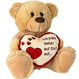 matches21 Teddybär Teddy mit Herz Ich Pass auf Dich auf Hellbraun / beige 25 cm Geschenk Klassiker...