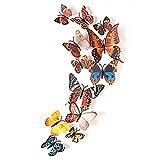 Oblique Unique Schmetterlinge in 3D Wandsticker mit Klebepunkten Wandtattoos - Farbe