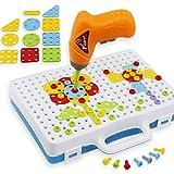 Lommer 146 Stück Mosaik Steckspiel Spielzeug Schrauben Puzzle Spielzeug Steckspiele Werkzeuge Spielzeug Baby Spielzeug Lernspielzeug für Kinder ab 3 Jahren, 30.5x24.5x6CM