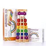 Harmonisches Xylophon für Kinder aus Holz – Glockenspiel mit Notenbuch und Holz-Schlägeln – Musikinstrument ab 3 Jahren mit wundervollen Klängen von SCHMETTERLINE