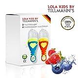 Lola Kids Fruchtsauger - 2 Fruchtsauger Baby mit 6 Ersatzkappen aus Silikon - Für weiche Lebensmittel, Obst und Gemüse - BPA-frei - CE-Standard