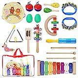 Yissvic 13PCS Musikinstrumente Musical Instruments Set Spielzeug von Holz Percussion Schlagzeug Schlagwerk Rhythmus Band Werkzeuge für Kinder und Baby (Verpackung MEHRWEG)