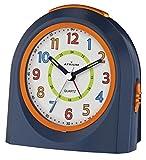 ATRIUM Wecker analog blau/orange ohne Ticken mit Licht und Snooze, Schlummerfunktion Quarz-Wecker...