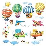 Decowall DAT-1406B1506B Heißluftballons Doppeldecker Autos Flugzeuge Tiere Wandtattoo Wandsticker...