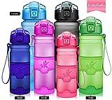 KollyKolla Sport Trinkflasche BPA-frei Auslaufsicher Wasserflasche, 500ml Tritan Sportflasche Kunststoff mit Filter für Kinder, Schule, Mädchen, Wasser, Fahrrad, Gym, Yoga, Camping, Matte Rosa