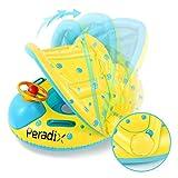 Peradix Baby Schwimmring mit Sonnendach Aufblasbares Kinderboot für Kinder ab 6 Monaten,Gelb