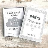 mintkind Meilensteinkarten Baby grau/weiß
