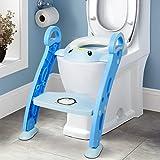Amzdeal Töpfchen Trainer/Toilettentrainer, Kinder Toilettensitz Trainer/Baby WC Sitz mit Leiter/Toilettenleiter, für Kinder von 1-7 Jahren