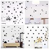 WandSticker4U- Wandtattoo 60 Sterne zum kleben | schwarz/silber/gold | Wandsticker Sternenhimmel Aufkleber Deko für Babyzimmer Kinderzimmer Möbel Wohnaccessoires