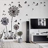 WandSticker4U- XL Wandtattoo'Pusteblumen' schwarz | Wandbild: 165X130 cm | Wandsticker Löwenzahn Blumen Schmetterlinge Pflanzen Aufkleber-Wand-Deko für Wohnzimmer, Garderobe, Flur, Fenster