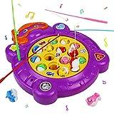 Angelspielzeug Fischspielzeug Spielzeug Kinder Drehbar mit Angelrute Set Geschenk für Mädchen Jungen Kinder 3 4 5 Jahre