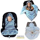 Baby Einschlagdecke Maxi cosi Decke, Babydecke für Babyschale, Fußsack für Kinderwagen - Übergangszeit, Frühling, Sommer aus Minky/Baumwolle SWADDYL (Blau)