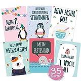 35 Baby Meilenstein-Karten mit hochwertiger Verpackung von Cozy Racoon (Sprache Deutsch) -...