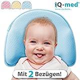 Babykissen Premium von iQ-med   mit 2 Bezügen   gegen Plattkopf und Verformung (Blau)