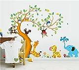 ufengke Cartoon glücklich Tier Baum mit Eule Affen Zebra Giraffe Wandsticker, Babyzimmer...