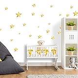 Wandtattoo Sterne fürs Kinderzimmer - Wandsticker Set - Pastell Farben für Baby Sternenhimmel zum Kleben Wandaufkleber Sticker Wanddeko - Wandfolie für Kleinkinder und Erstausstattung Dekoration