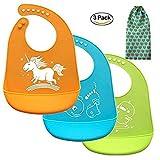 Latz Silikon,latz für baby,Bequeme weiche Baby-Lätzchen ,Lätzchen für Neugeborene Kleinkinder Säugling,Baby Geschenk,Leicht wischt sauber,3 Farben (3pcs, Silikon Lätzchen)