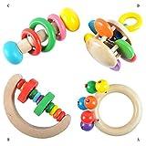 Blaward 4 STÜCKE Baby Holzrassel Rassel Spielzeug Holz Pädagogische Hand Glocke Rassel Spielzeug Montessori pädagogisches Spielzeug ungiftig Dusche Geschenk