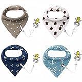 4er Baby Dreieckstuch Lätzchen Spucktuch Halstücher mit Schnullerkette und Verstellbaren...