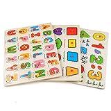 Keepgar Profun 56 PCS Wooden Jigsaw Puzzle 3 Alphabet/Number/Graph Set Educational Puzzle Toys for...