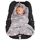 HOPPEDIZ Fleece-Decke für 3 & 5 Punkt-Gurtsysteme Einschlag-/Auto-/Krabbeldecke grau/rosé mit...