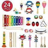 24 Stück Musikinstrumente Holz Percussion Set Schlagzeug Schlagwerk Spielzeug Set Kinder...