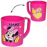 Unbekannt Trinkbecher / Henkeltasse -  Disney Minnie Mouse  - incl. Name - aus Kunststoff Plastik - Tasse - Kindertasse / Kinderbecher - für Baby - Trinklerntasse / T..