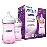 Philips Avent Natural Flasche SCF034/27, 260 ml, naturnahes Trinkverhalten, Anti-Kolik-System, rosa, 2er Pack