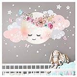 Little Deco Wandsticker Kinderzimmer Mädchen Mond & Wolken I L - 77 x 38 cm (BxH) I Wandtattoo...