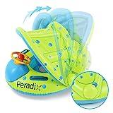 Peradix Baby Schwimmring mit Sonnendach Aufblasbares Kinderboot für Kinder ab 6 Monaten (Grün blau)