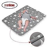 2 Stücke Waschbar Wickelunterlage für Babys und Kleinkinder (XL - 80 x 110 cm) - Atmungsaktiv,...