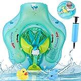 AsperX Baby Schwimmring, Baby Schwimmt Schwimmen Verstellbare Aufblasbare Schwimmer, Perfekt Schwimmtrainer Für Kinder Von 6-30 Monaten mit Manuelle Pumpe und Rubber Squeaky Spielzeug Verbesserter