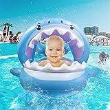 TRSCIND Aufblasbarer Hai für den Pool | Schwimmring für Babies/Kinder 6-36 Monate bis 35 kg | Abnehmbares Sonnendach | Süße Schwimminsel mit Glocken & Griffen für mehr Sicherheit