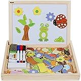 Anpro Magnetisches Holzpuzzle mit Doppelseitiger Tafel, 110 Stück pädagogisches Holzspielzeug...