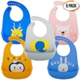 Bramble 5er Pack Wasserdichte Silikon Baby Lätzchen in 5 Farben - Tief Auffangschale, Weiches, Verstellbare, Leicht zu Reinigen - BPA Frei, Spülmaschinenfest - Baby Bib Ideal zum Entwöhnen