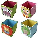 TE-Trend 4 Stück Textil Faltbox Spielbox Tiermotive Frosch Löwe Eule Kuh Aufbewahrung Truhe für...