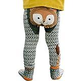mioim Baby Butt Thermo-Strumpfhose Kinder Jungen Mädchen Leggings Hose Strumpfhosen Winter Baumwolle Pants mit Socken Schwarz-Grauer Löwe 90 cm