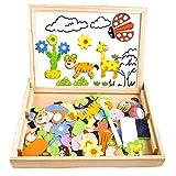 Cooljoy CL-8850 Magnettafel aus Holz, Puzzle-Spiele, doppelseitiges Puzzle- und Zeichen-Staffelei, Kreidetafel, Lernspielzeug für Kinder (Tiermuster)